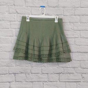 Free People   Green Gauze Lace Trim Skirt